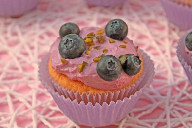 Pistazien Cupcakes mit Blaubeermascarponde